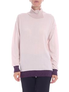 Ballantyne - Pink turtleneck with lamé inserts