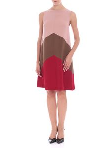 Parosh - Pink red and brown sleeveless dress