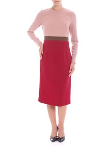 Parosh - Pink crew-neck dress with red skirt
