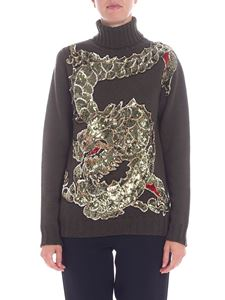 Parosh - Green turtleneck with sequined embroidery