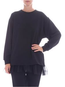 Parosh - Black sweatshirt with tulle top