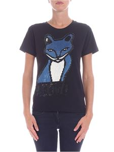 Parosh - Black and light blue fox pattern t-shirt