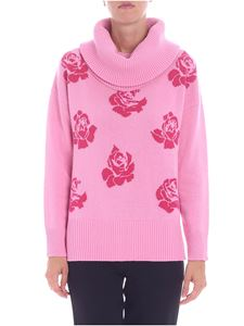 Blugirl - Pink pullover with fuchsia floral embroidery