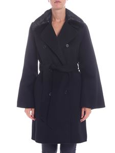 Parosh - Black coat with fur insert