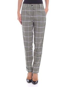 Parosh - Beige checked trousers with velvet inserts