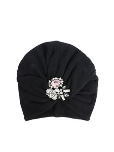 Monnalisa - Black beanie with rhinestones