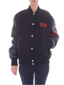 "GCDS - ""Varsity"" black jacket with red embroidery"