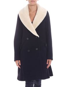 "JW Anderson - ""Swing"" black coat with shearling insert"