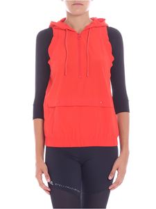 Adidas by Stella McCartney - Gilet Training rosso con cappuccio
