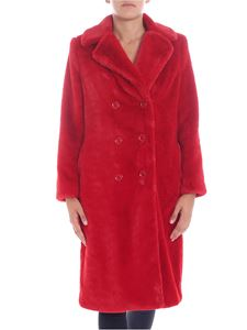 "Alice + Olivia - ""Montana"" red eco-fur coat"
