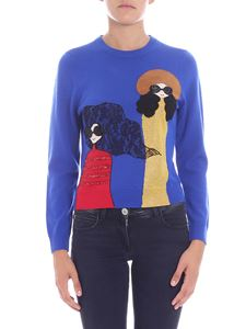 Alice + Olivia - Electric blue pullover with embroidery