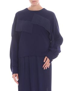 Golden Goose Deluxe Brand - Blue crewneck blouse with pleated inserts