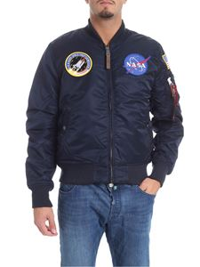 Alpha Industries - Bomber imbottito blu con patch