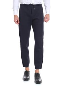 Emporio Armani - Blue trousers with side velvet bands