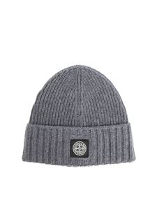 Stone Island Junior - Ribbed melange gray beanie with logo