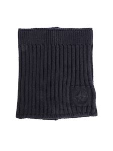 Stone Island Junior - Blue neck warmer with logo chain embroidery