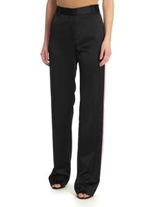 MSGM - Black trousers with contrasting stripes