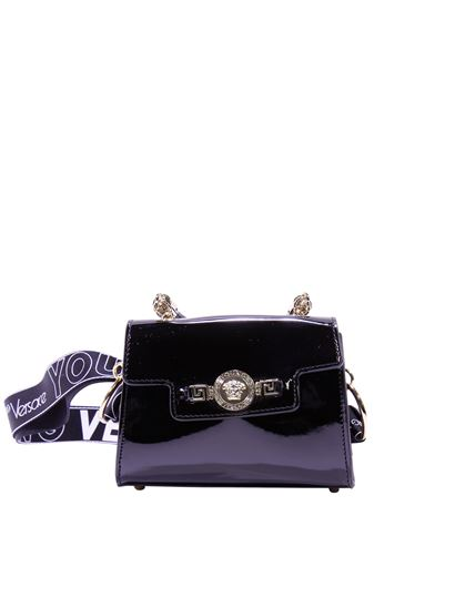 Versace Young Black Patent Bag With Branded Shoulder Strap