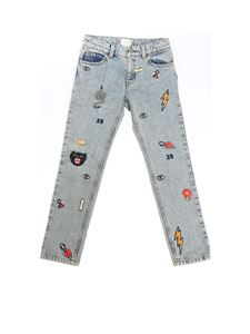 Gucci - Blue jeans with multicolor embroideries