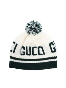 Gucci - White and green branded beanie