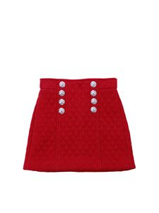 Balmain - Red diamond patterned skirt