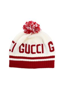 Gucci - White and red branded beanie