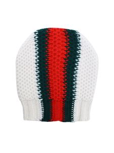 Gucci - White beanie with green and red inlay
