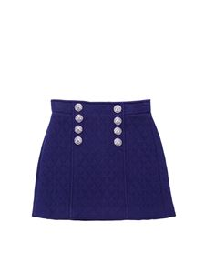 Balmain - Blue diamond patterned skirt