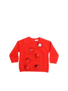 Il gufo - Red roundneck pullover with pom-pon