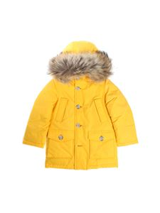 Woolrich - Yellow down jacket with fur insert