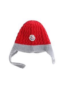 Moncler Jr - Red knitted branded beanie