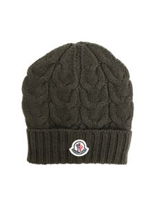 Moncler Jr - Army green tricot knitting beanie