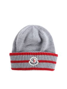 Moncler Jr - Grey and red knitted beanie