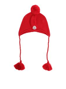 Moncler Jr - Red knitted beanie with logo