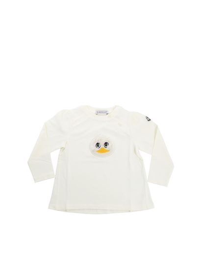 70821c923 Moncler Jr Fall Winter 18/19 white long sleeve t-shirt with front ...