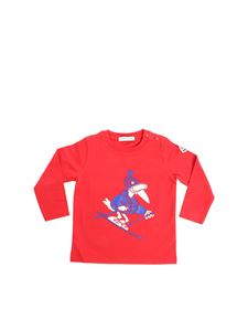 Moncler Jr - Red T-shirt with blue and white rubber print