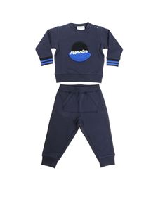 Moncler Jr - Blue jumpsuit with black and blue logo