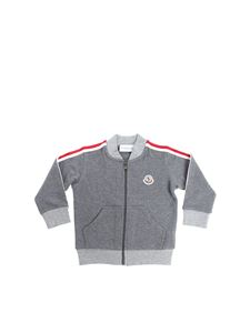 Moncler Jr - Gray sweatshirt with red and white branded stripes
