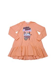 Fendi Jr - Flared pink salmon dress with logo