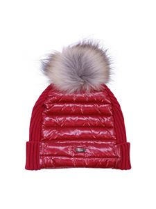 Herno - Red beanie with pom pom