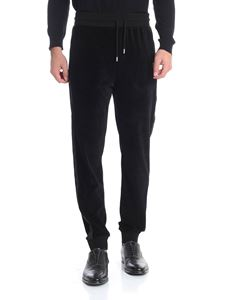 Karl Lagerfeld - Black chenille trousers with drawstring