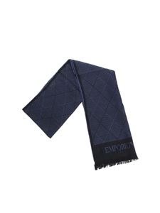 Emporio Armani - Blue and black scarf with diamond pattern