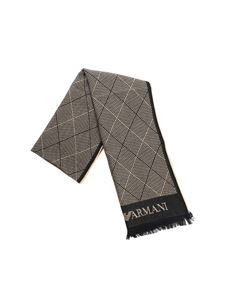 Emporio Armani - Black and beige diamond pattern scarf