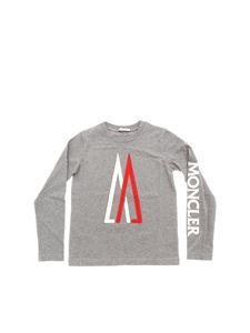 Moncler Jr - Gray t-shirt with embossed logo
