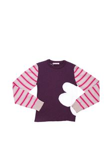 Marni - Striped pullover with flower motif