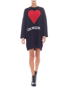 Love Moschino - Black dress with red heart detail