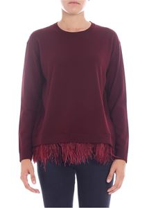 Parosh - Burgundy crewneck pullover with feathers