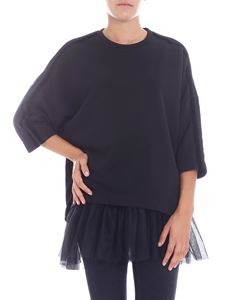 Parosh - Black crewneck sweatshirt with tulle lining