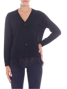 Parosh - Black cardigan with feathers