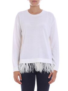Parosh - White crewneck pullover with feathers